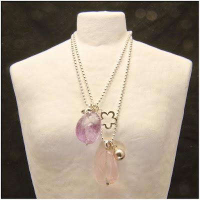 Gargantilla bolitas de plata con colgante de cuarzo rosa, amatista, estrella, bola y flor de plata. Joyería Artesanal Personalizada