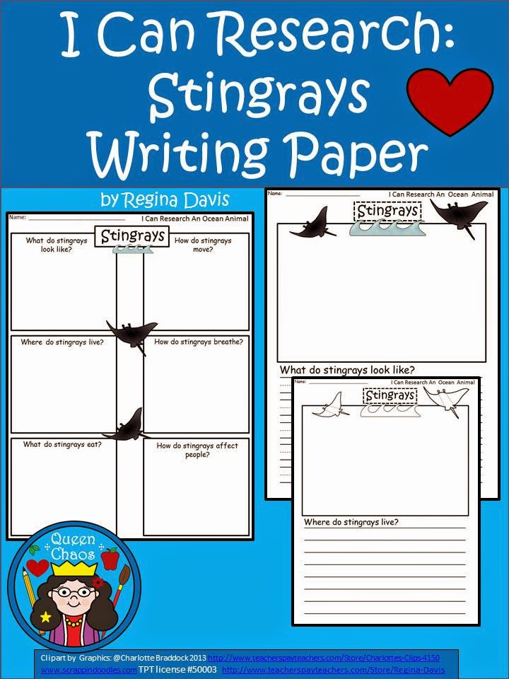 http://www.teacherspayteachers.com/Product/A-I-Can-Research-Stingrays-Writing-Paper-1246682