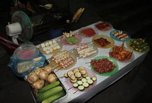 Food ready to be grilled in Sapa town