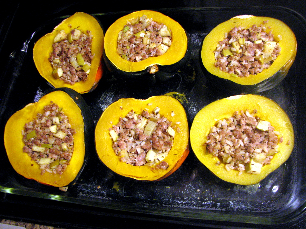 Sausage -Stuffed Acorn Squash prepared and ready to freeze !