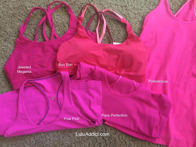 lululemon raspberry-glo-light-cool-racerback pinkelicious-pow-paris-perfection-bon-bon-jeweled-magenta