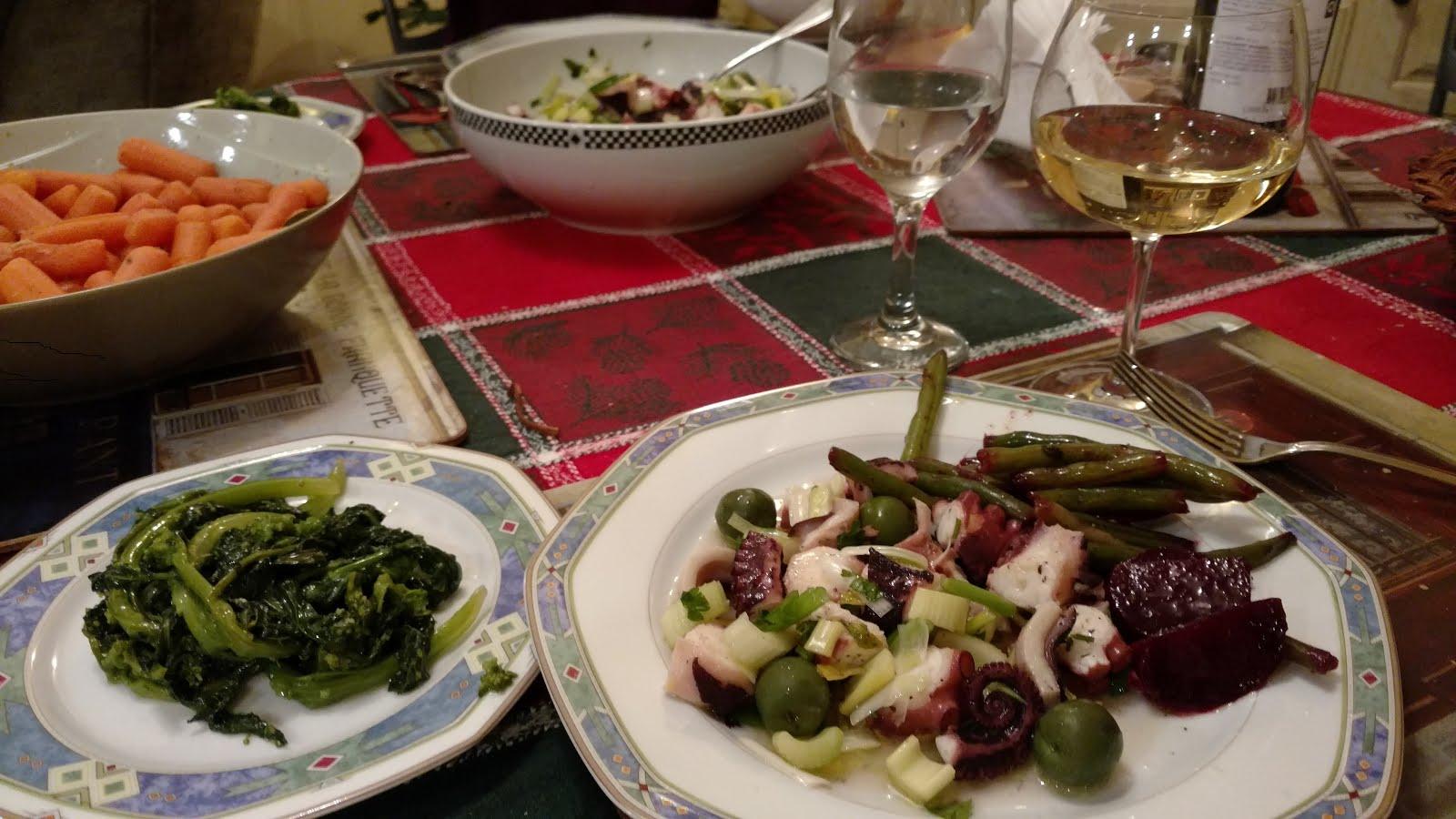 Octopus Salad with beets 'n beans, broccoli di rape, & carrots lemony.