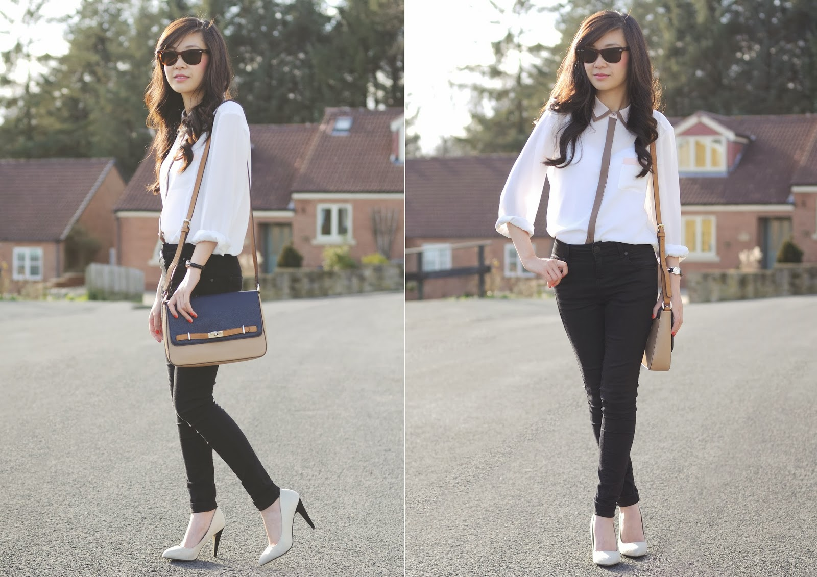 laura ashley blouse, how to style a white blouse, styling skinny jeans for a smart look,
