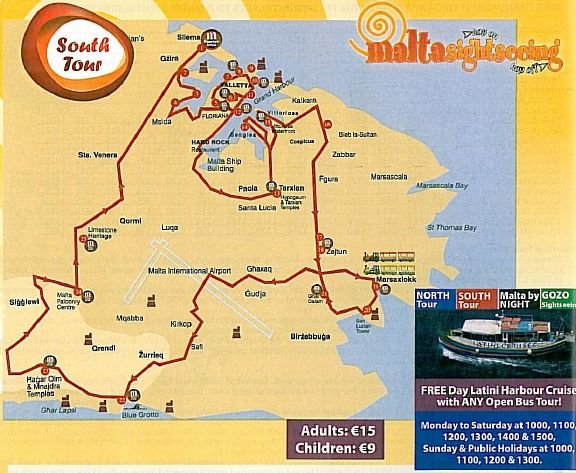 Mapa Malta Sightseeing, trasa południowa