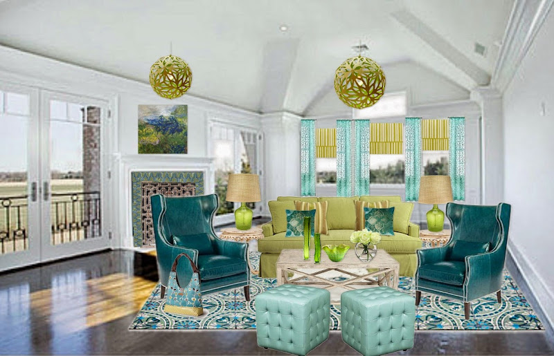 Blue Green and Yellow Color Scheme Room