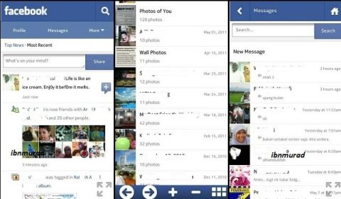 Browse Facebook with the optimized web interface for touch handsets