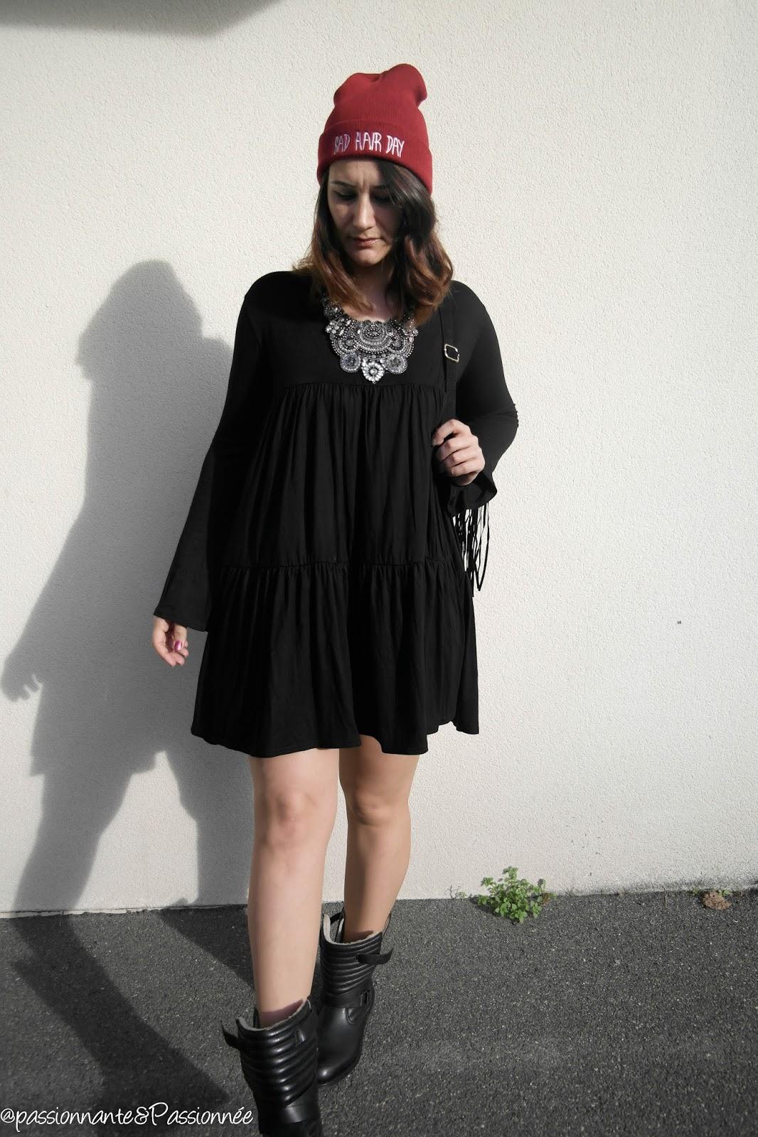 robe à smock noire