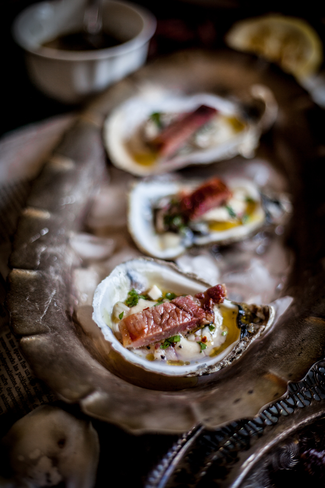 Grilled Oysters on the Half Shell with Grilled Proscuitto & Mignonette ...