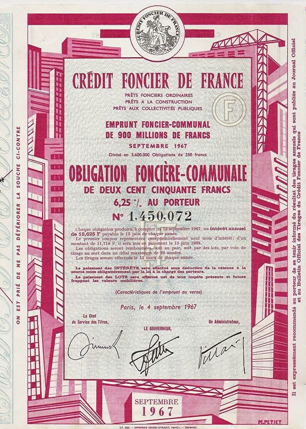 Obligation de Crédit Foncier de France printed by Berger-Levrault