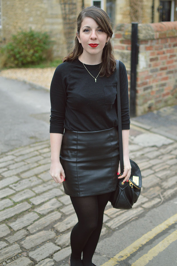 ASOS LEATHER SKIRT OOTD