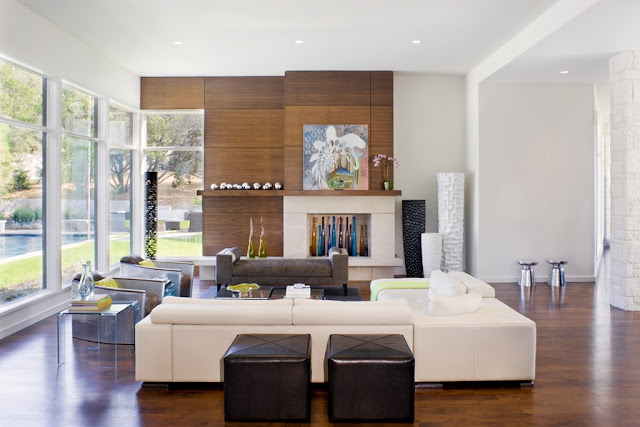 Photo of modern furniture and wooden wall in the living room of Blanco House