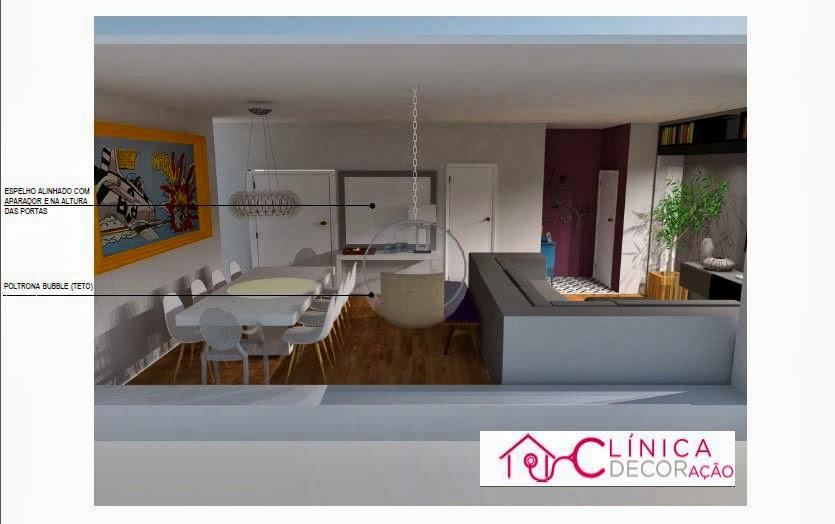 Sala De Estar Clin ~ Clínica DECORação Sala de estar, jantar e hall do jovem casal
