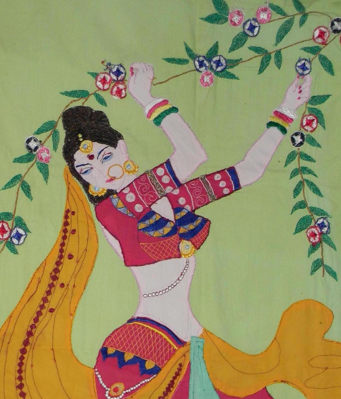 Creative Patterns Rajasthani Lady  Machine Embroidery