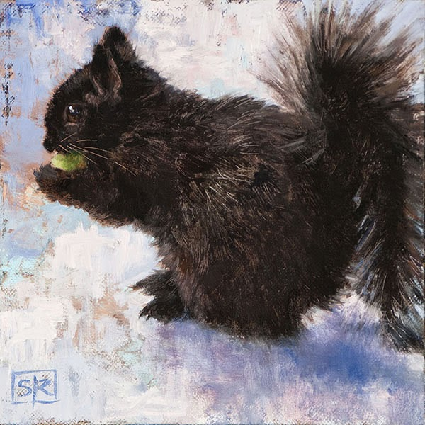 Black squirrel portrait, oil on canvas, painting, Shannon Reynolds