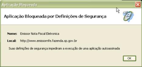NFE aplicação bloqueada por definições de segurança
