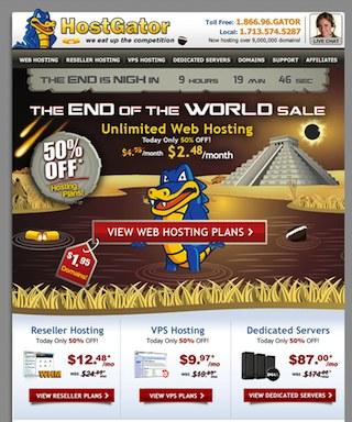 Hostgator EndWorldSale 75% discount