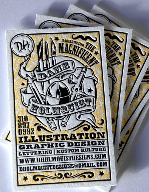 Cartões de visita criativos - Dane Holmquist - Design e Ilustração