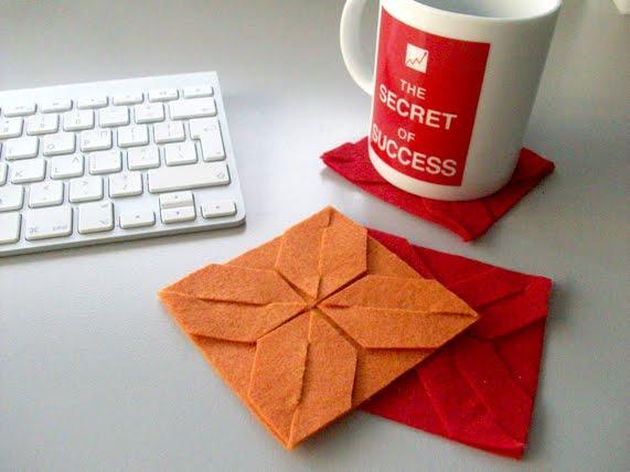 σουβέρ, origami, κατασκευές απο τσόχα, δώρα για συναδέλφους, είδη γραφείου, DIY felt, DIY τσόχας