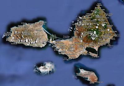 vista satélite, mapa isla margarita, venezuela, vuelta al mundo, asun y ricardo, round the world, informacion viajes, consejos, fotos, guia, diario, excursiones
