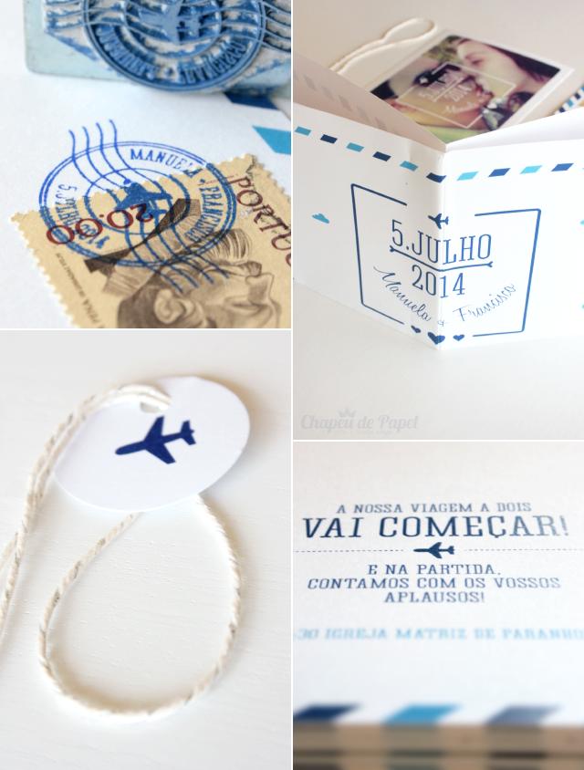 Convites de Casamento tema viagem disponíveis em http://www.chapeudepapel.com/p/kits-de-festa.html
