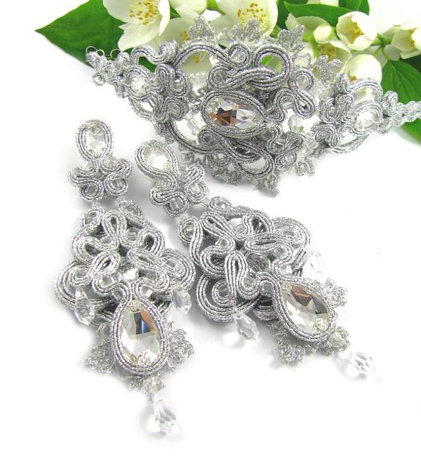 Sutaszowy komplet ślubny z kryształami Swarovski