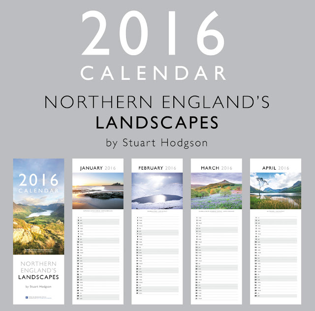 My 2016 Calendar - featuring photos of my best landscapes from Northern England, including the Lake District, Northumberland & Yorkshire. Christmas Present Gift walking hiking photography ideas