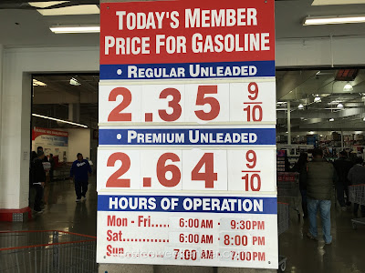 Costco gas for Dec 18, 2015 at South San Francisco, CA (airport location)