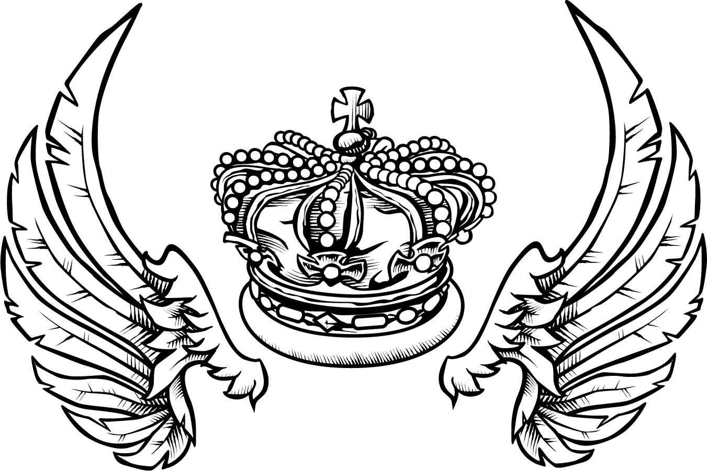 王冠と翼の精密な線画 fashion crown and wings イラスト素材