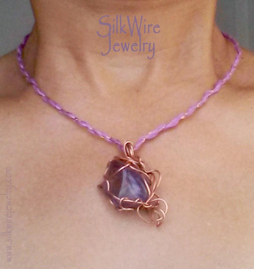 Silk Necklace with Ametrine by SilkWire Jewelry
