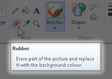 Example of Tooltip in Microsoft Paint