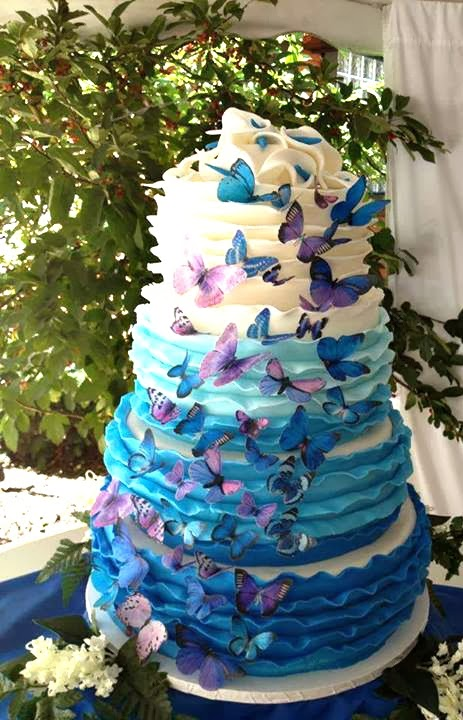 purple blue butterfly ombre cake