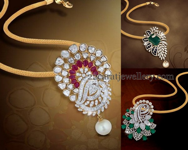 Diamond pendants by shobha asar jewellery designs right leafy design diamond clasps placed diamond pendant with square shaped emerald in the center audiocablefo
