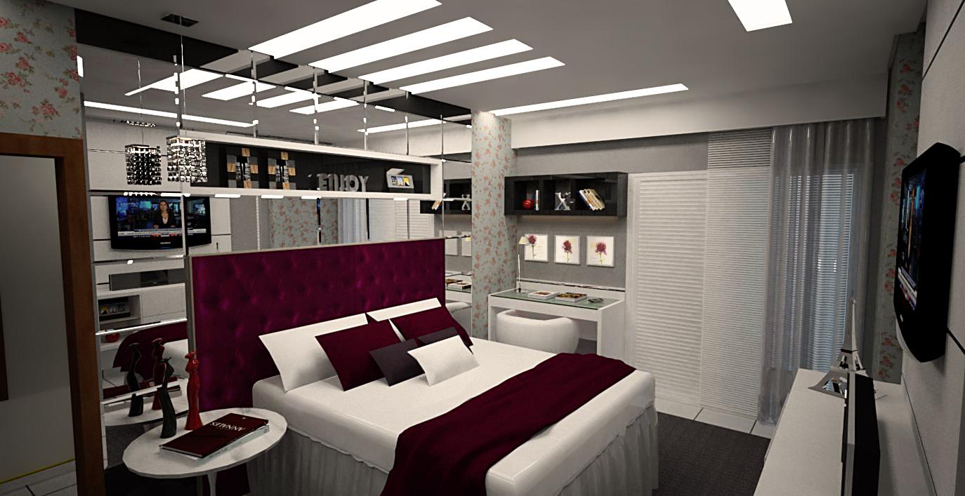 decoracao de interiores quarto de casal: , painéis de madeira e jogo de espelhos com acabamento bizotado