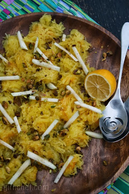 Spaghetti Squash w/ Apples & Pistachios {12 Weeks of Winter Squash} | www.girlichef.com