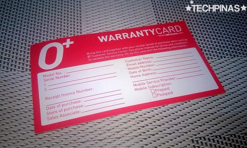 O+ 8.6, O+ Warranty Card