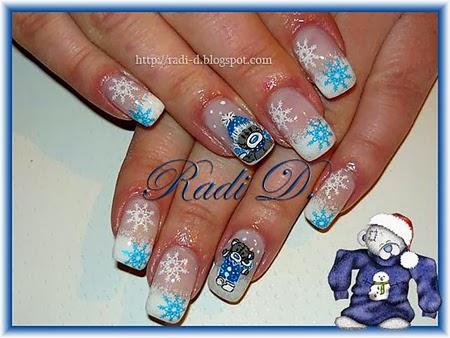 Маникюр снежинки дълги нокти
