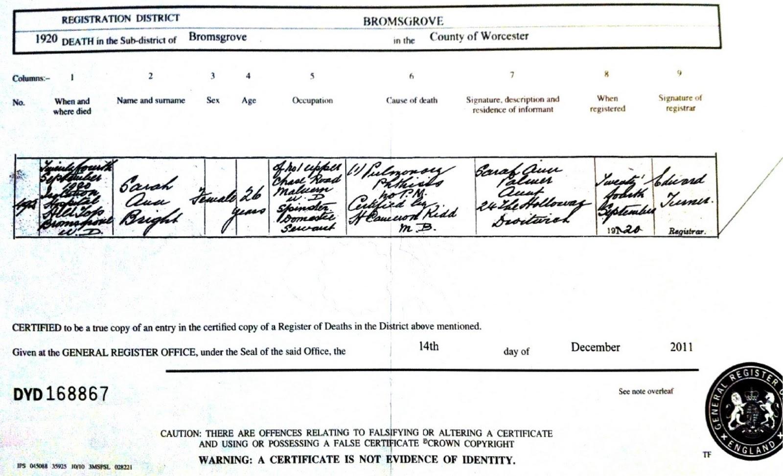 The Death Certificate Of Alice Bright 1894 19 Random Genealogy