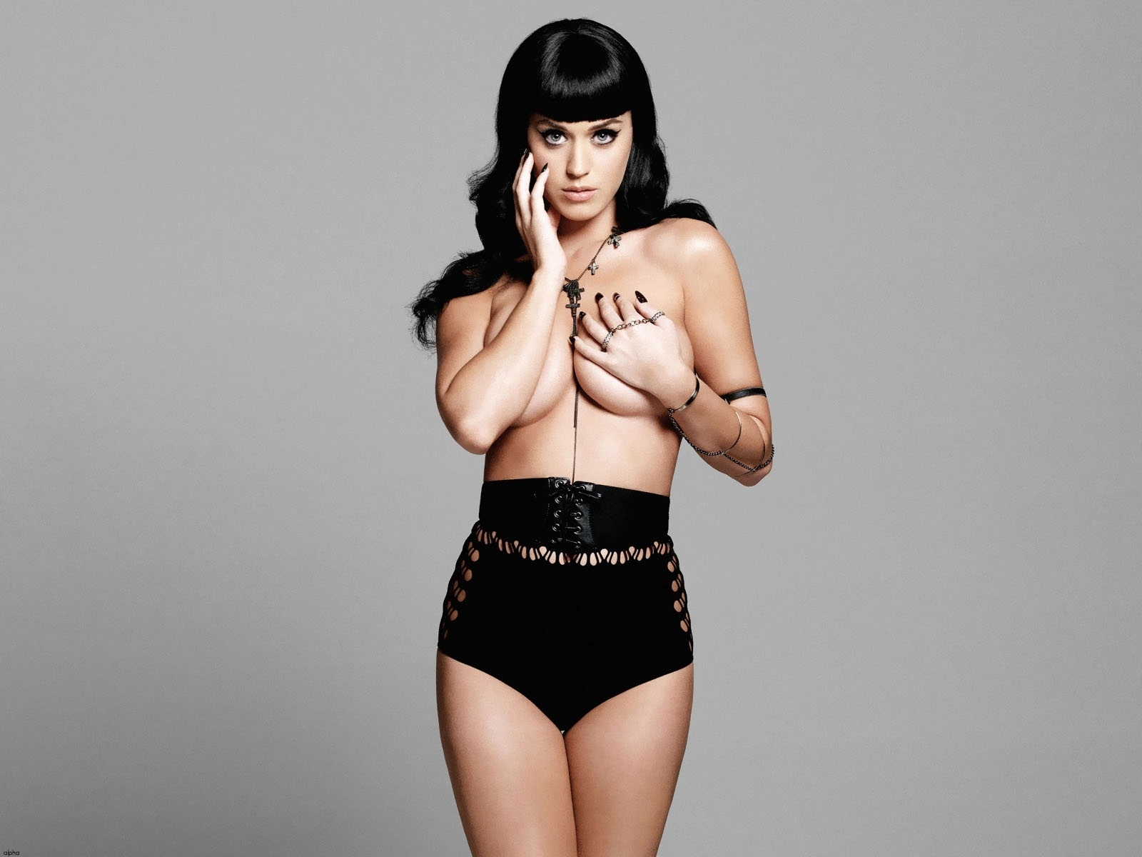 Katy Perry wears black underwear or lingerie and no top