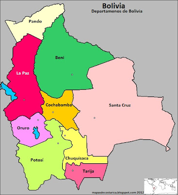 Mapa de los departamentos de Bolivia