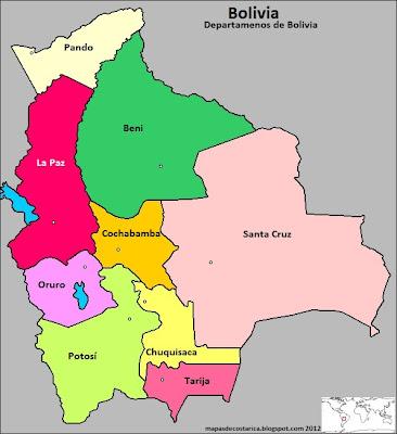 Mapa de los departamentos de Bolivia