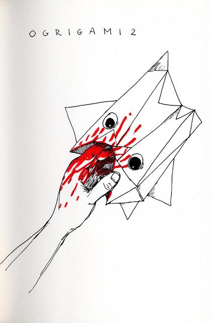 dessin a l'encre noire et rouge d'un ogre en origami mangeant une main