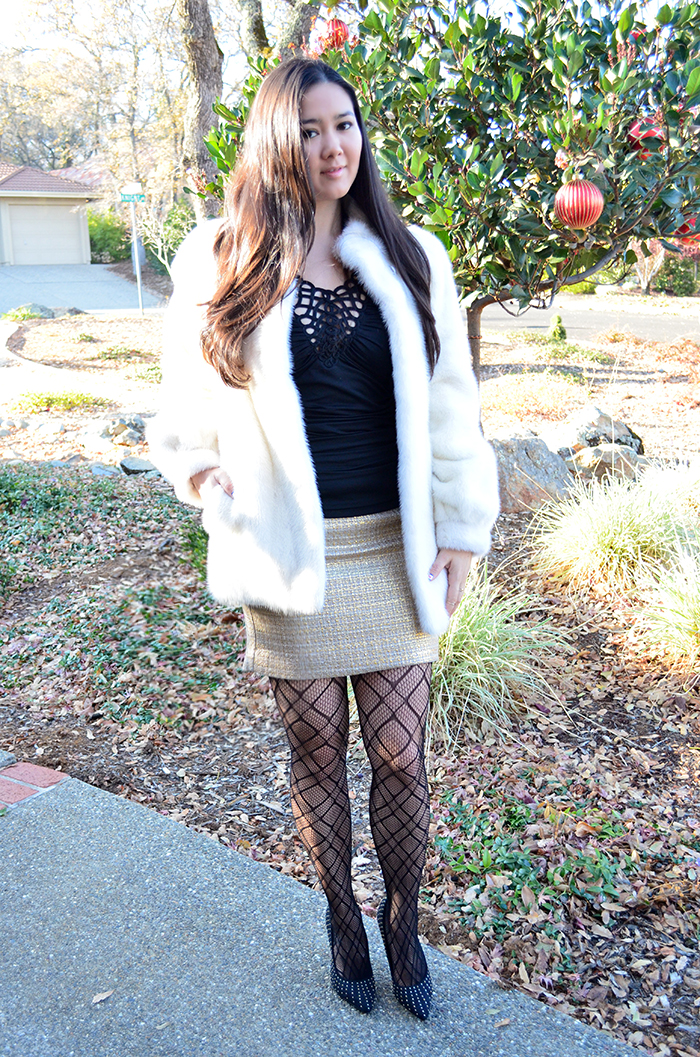how to wear white fur coat