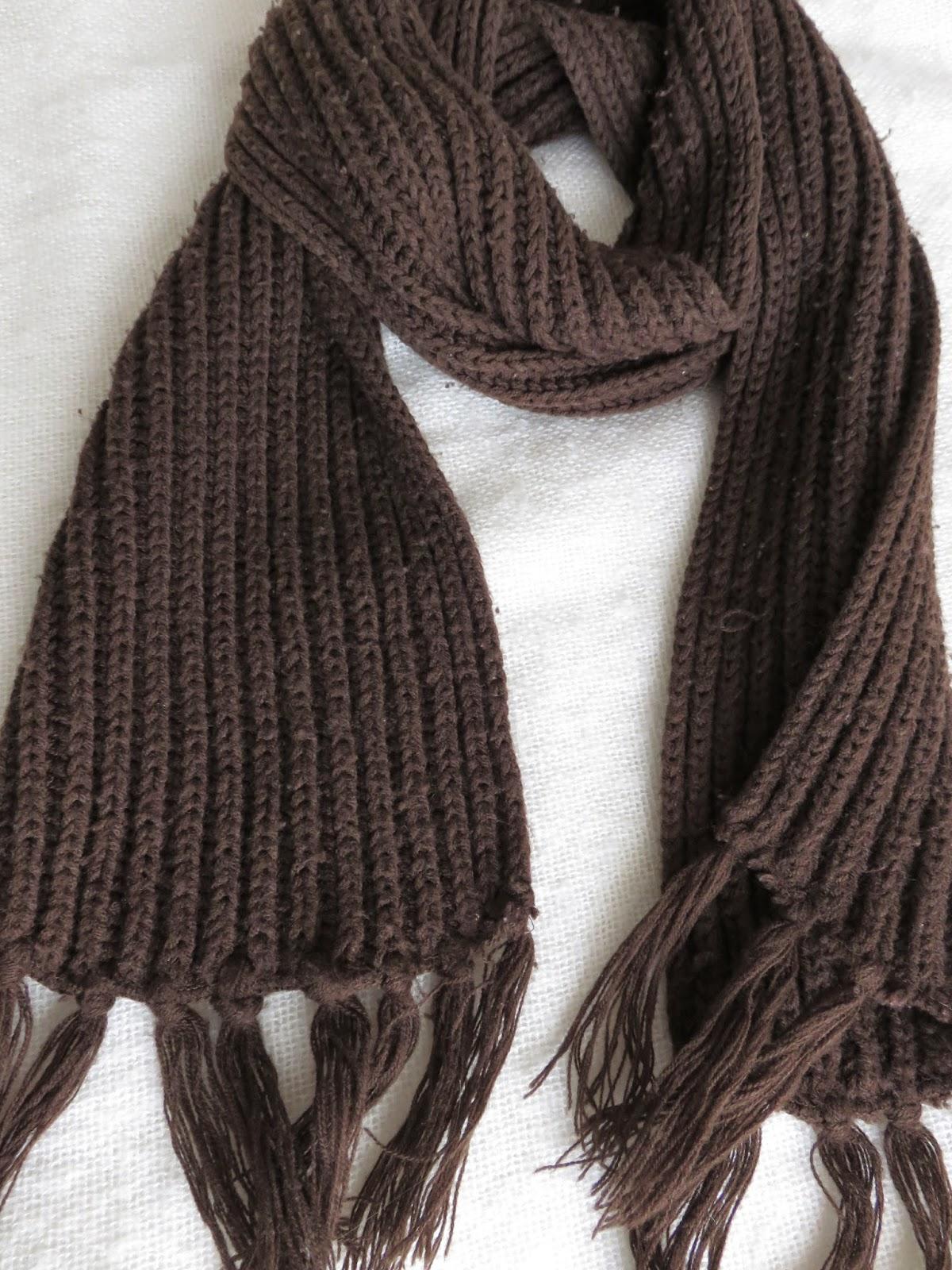 bruine dikke sjaal brown thick knit scarf