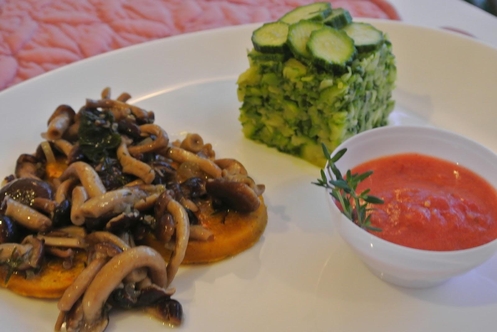 muscolo di grano ai funghi con zucchine