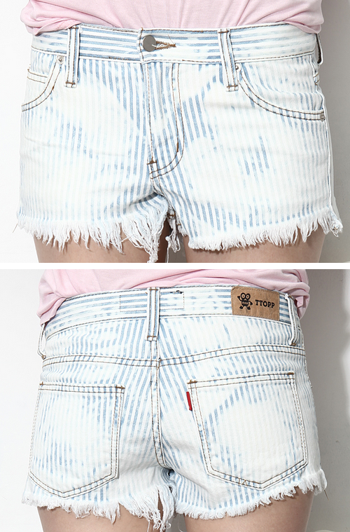 Cali Striped Denim Cutoff Shorts