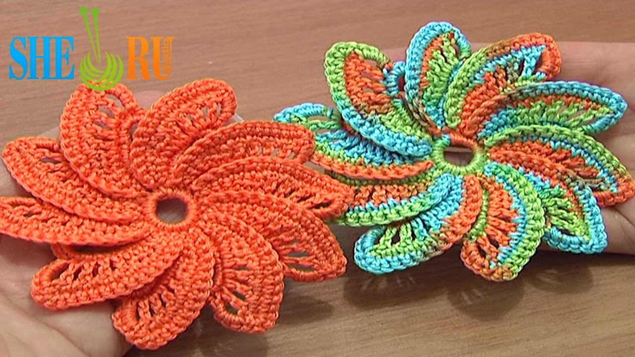 Sheruknitting spiral flower tutorial 55 begin to crochet beautiful flowers with detailed video instructions this beautiful spiral flower has 10 petals each petal was made separately around the izmirmasajfo