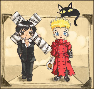 anime hermanos trigun humor chistoso