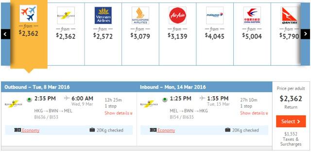 香港往來墨爾本 HK$2,362(連稅$3,914)