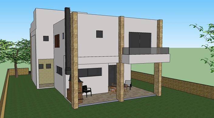 Projeto de casa moderna 2 andares 001 for Casa moderna 90m2
