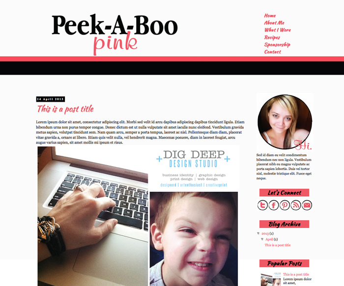 New Blogger Template: Peek-A-Boo Pink